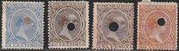 1889. * ALFONSO XIII-PELON. TALADRADOS. Lote De Cuatro Sellos - Oblitérés