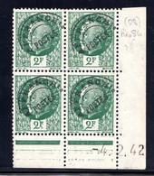 YT-N°: P 86 - PÉTAIN (Bersier), Coin Daté Du 04.02.1942, Galvano A De A+A, 3e Tirage, NSC/**/MNH - Voorafgestempeld