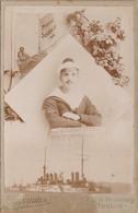 83) TOULON - CARTE PHOTO JACOMINE - SOUVENIR 1913 - MARIN DU BISSON AVEC BATEAU DE GUERRE  - MARINE - 2 SCANS - Toulon