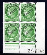 YT-N°: P 88 - CÉRÈS DE MAZELIN, Coin Daté Du 23.03.1945, Galvano A De A+B, 3e Tirage, NSC/**/MNH - Voorafgestempeld