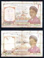 Indochine Lot De 2 Billets De 1 Piastres - Indochina