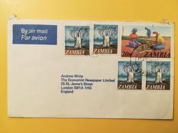 1976 BUSTA INTESTATA AIR MAIL ZAMBIA BOLLO LOCAL MOTIFS MOTIVE  ANNULLO OBLITERE' KITWE TO ENGLAND - Zambia (1965-...)
