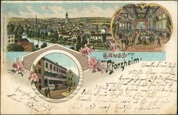 Ansichtskarte Litho AK Pforzheim Stadt, Saal, Gasthaus Goldener Löwe 1907 - Pforzheim