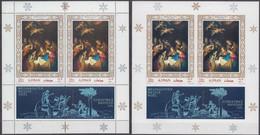 Ajman 15.12.1968 Mi # Bl B 76 AВ; OVERPRINT CHRISTMAS Paintings, Adoration Of The Shepherds By Gerard Van Honthorst - Altri