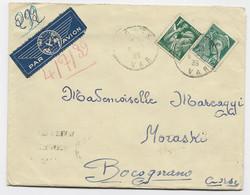 MERCURE 25C+  IRIS 1FR VERT LETTRE AVION GIENS 1939 VAR  POUR LA CORSE AU TARIF - 1938-42 Mercurio