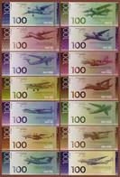 "UKRAINE Set 14 Pcs. ""100th Anniversary Of The Antonov Plant Aircraft Of Ukraine"" 2020 UNC. Private Essay. Fantasy. - Other"