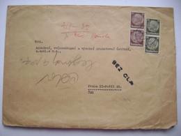 Brief Deutches Reich Sudetenland 1938 Arnau Elbe (Hostinne) Nach Prag, Hindenburg 2x10, 2x30 Pf. - Zollfrei - Sudeti