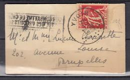 Brief Van Yvoir Naar Bruxelles Pour Combattre Le Chomage Achetez Des Produits Belges - 1932 Cérès Et Mercure