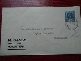 ILE MAURICE ( MAURITUS) LETTRE 1927-33 AVEC N° YVERT 193 - Mauritius (1968-...)