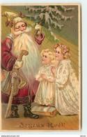 N°16331 - Carte Gaufrée - Joyeux Noël - Fillettes Priant Devant Le Père Noël - Sonstige