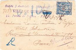 Sage 15c Paris 104 Octobre 1900 Recommandé Taxe Vienne Autriche - 1877-1920: Semi-Moderne