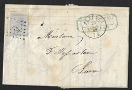 18 Sur Lettre Oblit. LP 128 Fleurus CàD Fleurus Le 23 Nov 1869 (Lot 815) - 1865-1866 Profil Gauche