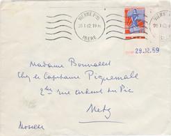 25c MARIANNE A LA NEF TARIF LETTRE 20/1/62 BORD DE FEUILLE COIN DATE 29/12/59 - 1961-....