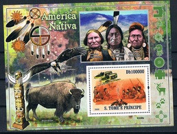 Bloc Sheet Indiens Bisons Native America Indians Neuf MNH ** S Tome & Principe 2009 - Sao Tome And Principe
