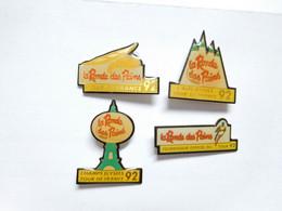 Belle Série De 4 Pin's Différents , Cyclisme Vélo , Tour De France 92 , La Ronde Des Pains , Boulangerie , Tour Eiffel - Cycling