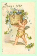 K003 - Illustration Ange Avec Panier De Fleurs - Carte Dorée Et Gaufrée - Bonne Fête - Série 532 - Angels
