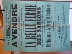 SAINT MARTIN DU VIEUX BELLEME ORNE AFFICHE DE VENTE ANNEE MAI 1893 FERME DES SABLONS A MR SAINTE JAMES DIM 60X85 - Posters