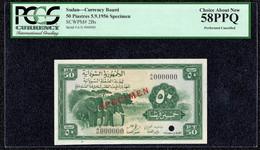 Sudan 50 Piastres 1956 Specimen PCGS 58 AU Banknote - Sudan