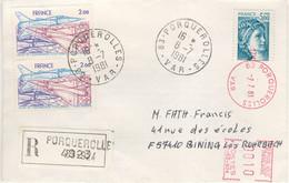 5f SABINE DE GANDON PAIRE 2F POSTE AERIENNE + CPLT AFFRT EMA 10C TARIF 9.10F LETTRE RECOMMANDEE R1 PORQUEROLLES 8/7/81 - 1961-....