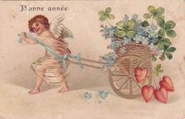 Ange  : Angelot Tirant Une Charette Fleurie : Carte Gaufrée : Bonne Année - Fêtes Et Voeux - Angels