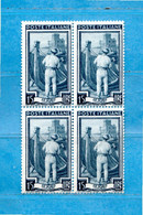ITALIA**- 1955 -Italia Al Lavoro. Lire 15. Unif. 757. FIL. Stellr . Quartina. MNH.  COME SCANSIONE. - 1946-60: Ungebraucht