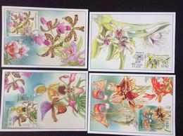 2012 Les 4 Cartes Maximum Fleurs Orchidées Orchideen Bloc Michel 47 Maximum Card - FDC