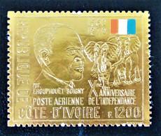 10 EME ANNIVERSAIRE DE L'INDEPENDANCE 1971 - NEUF ** - YT PA 48 - MI 373 - TIMBRE OR - Ivory Coast (1960-...)