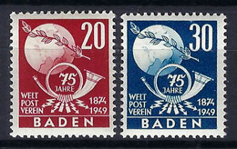 U.P.U. (Union Postale Universelle): 75ème Anniversaire De L'UPU, TP De Baden, Neufs** - UPU (Wereldpostunie)