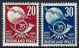 U.P.U. (Union Postale Universelle): 75ème Anniversaire De L'UPU, TP De Rheinland-Pfalz, Neufs** - UPU (Wereldpostunie)