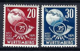 U.P.U. (Union Postale Universelle): 75ème Anniversaire De L'UPU, TP De Wurtwmberg, Neufs** - UPU (Wereldpostunie)