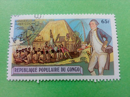 """REPUBLIQUE POPULAIRE DU CONGO - Timbre 1979 : Série """"Anniversaire James Cook"""" - Groupe D'hommes Polynésiens - Oblitérés"""