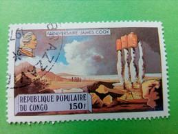 """REPUBLIQUE POPULAIRE DU CONGO - Timbre 1979 : Série """"Anniversaire James Cook"""" - Les Moaî De L'Ile De Pâques De W. Hodges - Oblitérés"""
