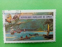 """REPUBLIQUE POPULAIRE DU CONGO - Timbre 1979 : Série """"Anniversaire James Cook"""" - Petites Pirogues Polynésiennes - Oblitérés"""