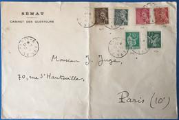 France N°367, 404, 405, 406, 412 Et 432 Tous Perforés S (Sénat) Sur Enveloppe TAD PARIS - 6 SENAT 24.11.1941 - (L144) - 1921-1960: Modern Period