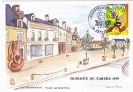 Astérix Sur Carte De Beaugency . Oblitération Journée Du Timbre 1999 - Comics