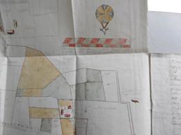 Opmeting Met Figuratieve Kaart Van Een Pachthof In HARELBEKE 1740. Kaft Met Kaart + Plan Apart. Eigendom Dujardin. - Manuscripts