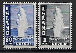 Island 1943 Geysir  Mi.-Nr. 229A, 239C **/MNH - Ungebraucht