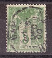 Sage N° 102 Vert-jaune Vif - Oblitération CàD Cercle Intérieur Tireté Gap 25 Décembre 1900 - 1898-1900 Sage (Type III)