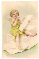 Fantaisie -   Ange écrit. Papier, Enveloppe, Crayon. Carte Embossée. - Angels