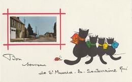 J2- 23) SAINT MAURICE LA SOUTERRAINE - BON SOUVENIR - ILLUSTRATEUR RENE - CHATS NOIRS - CHAT - CAT - 2 SCANS) - Other Municipalities