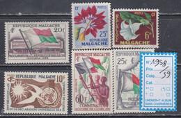Madagascar  Année Complète Poste 1958 / 59 N° 335 / 40 , Les 6 Valeurs Sans Charnière, TB - Madagascar (1960-...)