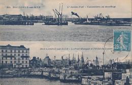 62) BOULOGNE SUR MER - L'ARRIERE PORT - CANNONIERES AU MOUILLAGE - LE PONT  MARGUET ET L'HOTEL DU  LOUVRE - Boulogne Sur Mer