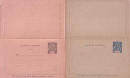 OBOCK - 1892 - 2 CARTE-LETTRE ENTIER TYPE ALLEGORIES NEUVES - ACEP CL1+CL2 - Lettres & Documents