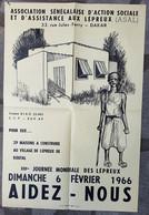 Affiche Association Sénégalaise D'assistance Aux Lépreux - XIIIème Journée Mondiale Des Lépreux 1966- Koutal Dakar - Posters