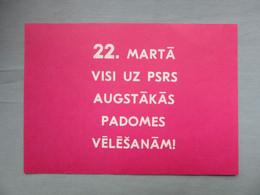 RUSSIA, USSR LATVIA  Y1987  SOVIET ELECTION Voting  INVITATION POSTCARD - Russland