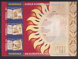 ROMANIA 2009: ENERGY - ELECTRICITY, NATURAL GAS, Used Souvenir Block - Registered Shipping! Envoi Enregistre! - Usado