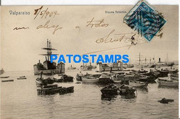 157771 CHILE VALPARAISO DIQUE FLOTANTES SHIP VISTA PARCIAL POSTAL POSTCARD - Chile