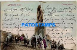 157772 CHILE CORDILLERA CRISTO REDENTOR COSTUMES PEOPLE A HORSE POSTAL POSTCARD - Chile