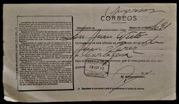 934 MARRUECOS MAROKKO MOROCCO MAROC ALFONSO XIII LARACHE 1912 JUSTIFICANTE IMPRESOS CERTIFICADO RARO - Spanish Morocco