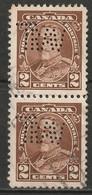 "Canada 1935 Sc 218  Pair Used ""TRW"" (Travellers Insurance) Perfin - Perforiert/Gezähnt"